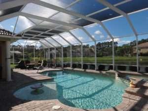 mansard roof style pool enclosure