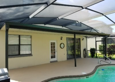 pool enclosure with awning