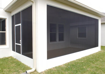 backyard patio enclosure side view - concrete slab